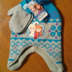 Grey and blue Frozen beanie + mittens